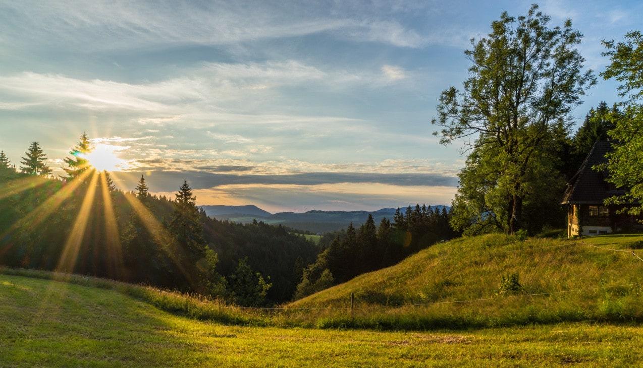 Sonnenuntergang mit Schwarzrwaldlandschaft